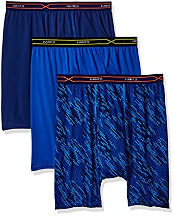 Hanes Red Label Men's 3-Pack X-Temp Performance Cool Boxer Brief (1 Print/2 Solids), Assorted, Small