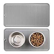 mDesign Premium Quality Pet Food and Water Bowl Feeding Mat for Dogs and Puppies - Waterproof Non-Slip Durable Silicone Placemat - Food Safe, Non-Toxic - Small, 2 Pack - Gray