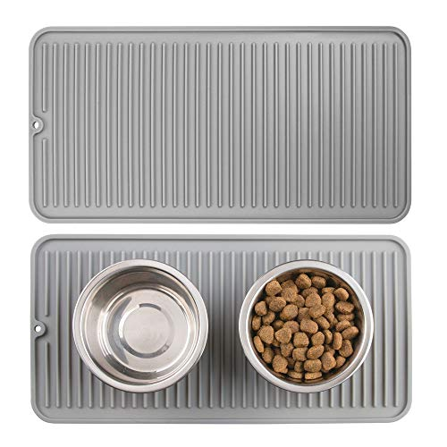 Mdesign Premium Quality Pet Food And Water Bowl Feeding Mat For Dogs And Puppies Waterproof Non Slip Durable Silicone Placemat Food Safe Non Toxic Small 2 Pack Gray