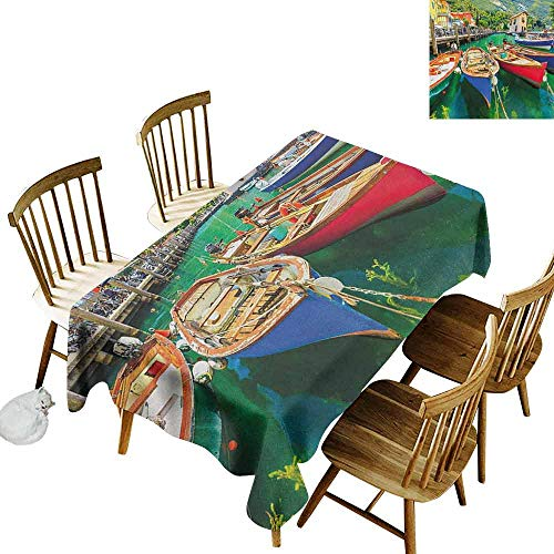 DONEECKL Italy Home Decoration Tablecloth Anti-Overflow Tablecloth Summer Landscape and Wooden Boats on The Lake Garda Torbole Town Fishing Maritime Multicolor W60 -