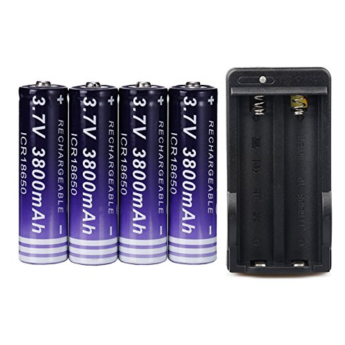 4 Pack 18650 Battery 3.7V 3800mAh Rechargeable Li-ion Batteries and Dual Battery Charger,High-Capacity Battery