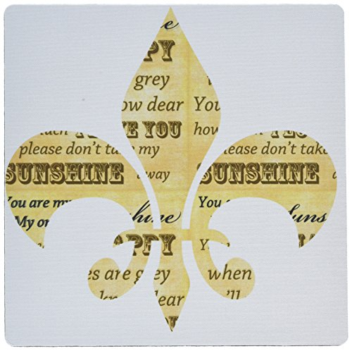 Shine Gift (3dRose French fleur de lis vintage you are my sunshine - Mouse Pad, 8 by 8 inches)