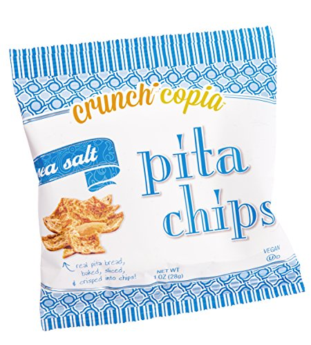 Crunchicopia Premium Pita Chips, Sea Salt, 1oz Snack Bags (Pack of 12)