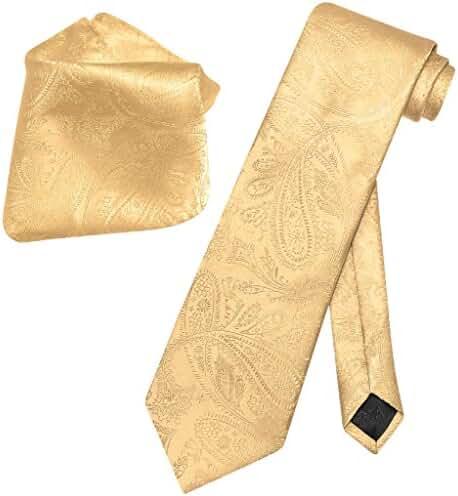 Vesuvio Napoli Gold Color PAISLEY NeckTie & Handkerchief Matching Neck Tie Set