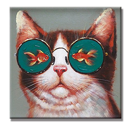 SEVEN WALL ARTS Modern Animal Artwork 100% Hand-painted Oil Painting Stretched and Framed Ready to Hang for Living Room (24 x 24 Inch, Cat loves (Fish Oil Paintings)