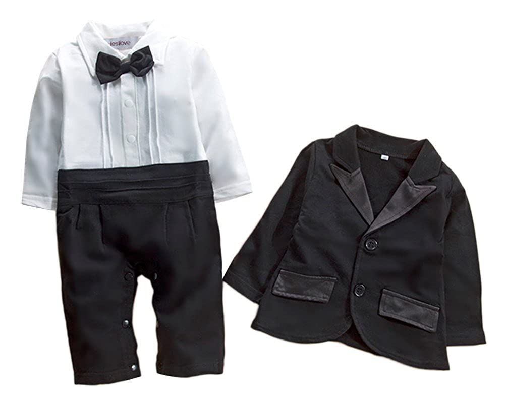c2c1d13474ab Amazon.com  stylesilove Newborn Infant Baby Boys Tuxedo Bow Tie ...