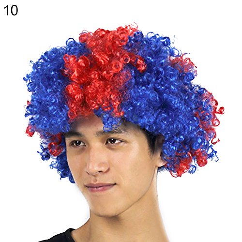 lightclub Colorful National Flag Wig Country Football World Cup Fan Headgear Party Supply Afro Big Hair Afro Hair Explosion Head Wig For Party Cosplay Club Bar Christmas Halloween Costume -