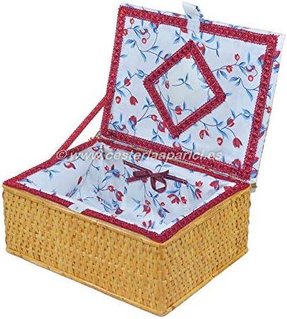 Costurero de mimbre con tapa forrado Puede variar el color del estampado de la tela. Cesteria Aparici