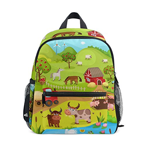 ColourLife Kids Book bag Animals In Farm Backpack School Bag for Girls Boys