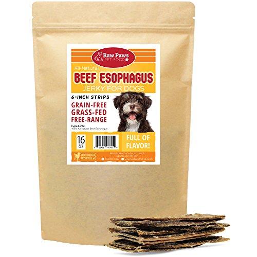 (Raw Paws Pet Natural 6-inch Beef Dog Jerky Treats, 16-oz - Dog Taffy Sticks - Esophagus Dog Treats - Beef Gullet Sticks for Dogs - Glucosamine Chondroitin Dog Treats for Joints - Beef Strips for Dogs)