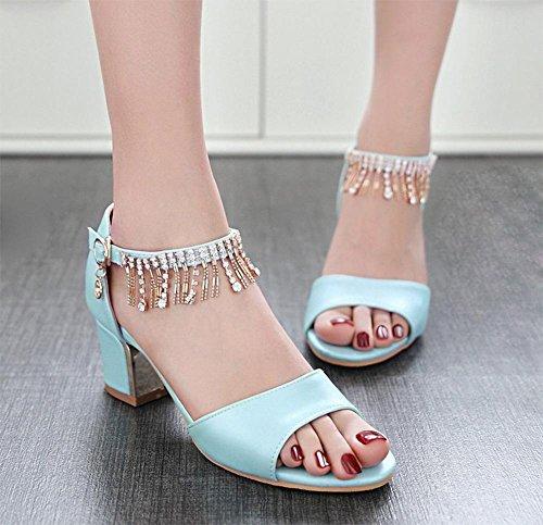 Sommer Weiblich Sandalen mit Sandalen Weiblich Fisch Mund Sandalen Weiblich Dick mit Cool Hausschuhe mit Ein Wort mit Buchse Sandalen blau