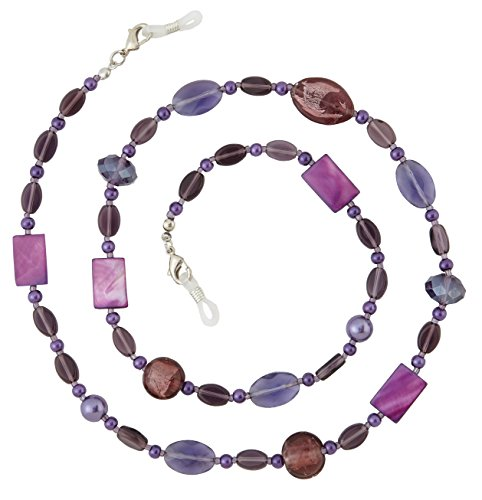 Beaded Glass Eyeglass Chain Holder Fashion Lanyard Necklace, Amethyst Purple (Silver Beaded Eyeglass)