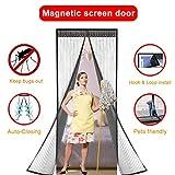 Iprotek Screen Door, Magnetic Mosquito Net Folding Door Screen For France Sliding Doors Curtain Fits Size Up To 35 x 82 Bug Net/Mesh Doggie Door Replacement Built In Strong Magnets Auto Lock