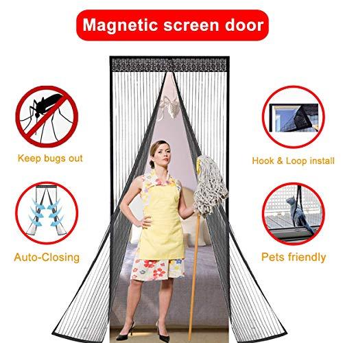 Iprotek Screen Door, Magnetic Mosquito Net Folding Door Screen For France Sliding Doors Curtain Fits Size Up To 35 x 82 Bug Net/Mesh Doggie Door Replacement Built In Strong Magnets Auto Lock by Iprotek