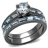 Women's 3.24 Carats Clear & Light Blue CZ Wedding Rings Set (9)