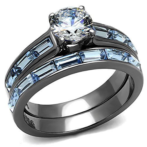 Womens 3.24 Carats Clear & Light Blue CZ Wedding Rings Set