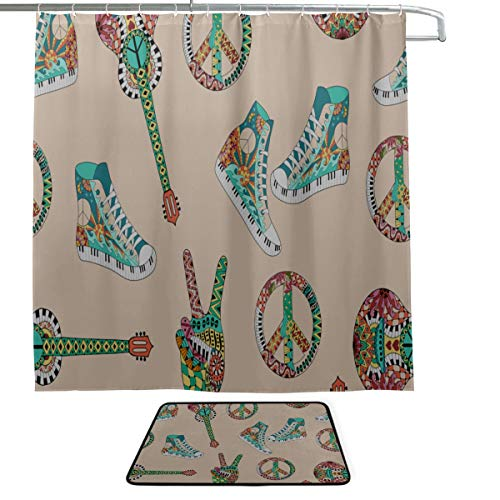 - High-top Canvas Shoes Casual Design Single-Sided Printing Shower Curtain and Non-Slip Bath Mat Rug Floor Mat Combination Set with 12 Hooks for Bathroom Decor and Daily Use