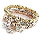 Hmlai Charm Bracelet, 3pcs Charm Women Bracelet Gold Silver Rose Gold Rhinestone Bangle Jewelry Set (F)