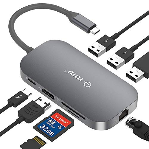 USB C Hub, TOTU 8-in-1 Type C Hub with Ethernet Port, 4K USB C to HDMI, 2 USB 3.0 Ports, 1 USB 2.0 Port, SD/TF Card Reader, USB-C Power Delivery, Portable for Mac Pro and Other Type C Laptops (Silver)