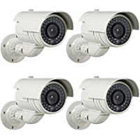 Masione 4 Pack Fake / Dummy Bullet Security Surveillance Camera with Flashing IR Red LED Light, Simulated Decoy Infrared with Blinking