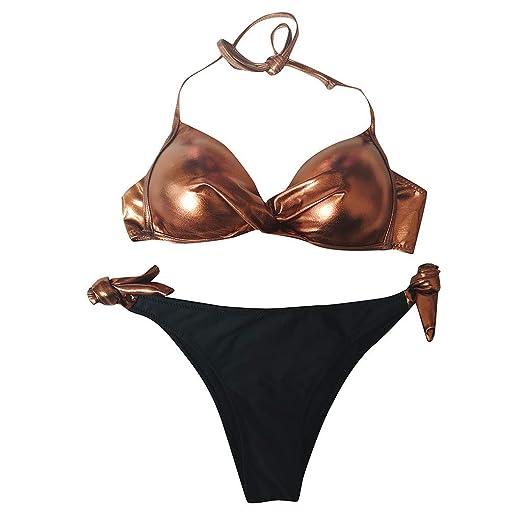 2076c6652 Amazon.com: Benficial Women's Sexy Simple Bikini Sets, Two Piece Sequin  Reflection Swimwear Swimsuits: Clothing