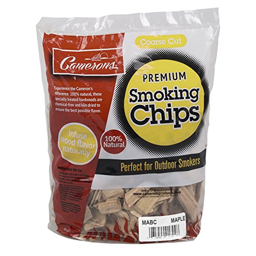Camerons Smoking Wood Chips (Maple)- Coarse Kiln Dried BBQ Chips- 100% All Natural Barbecue Smoker Shavings- 2lb Bag