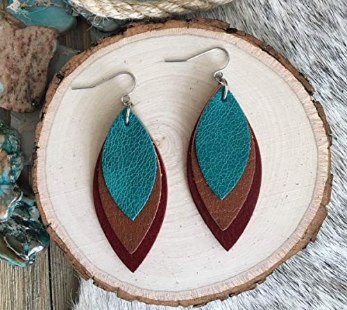 Southwestern Style Layered Leather Leaf Earrings
