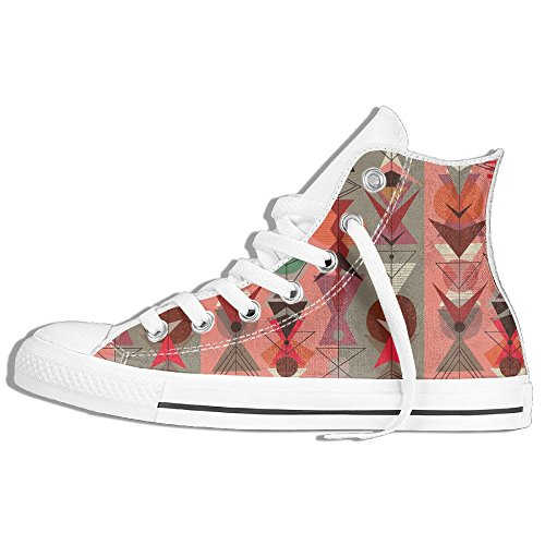Geometry Pattern High Top Classic Canvas Shoes Fashion Sneaker White OujxlQ06g
