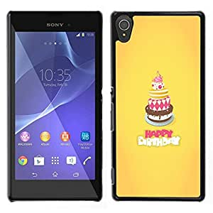 // PHONE CASE GIFT // Duro Estuche protector PC Cáscara Plástico Carcasa Funda Hard Protective Case for Sony Xperia T3 / Cake Happy Birthday Yellow Sweet /