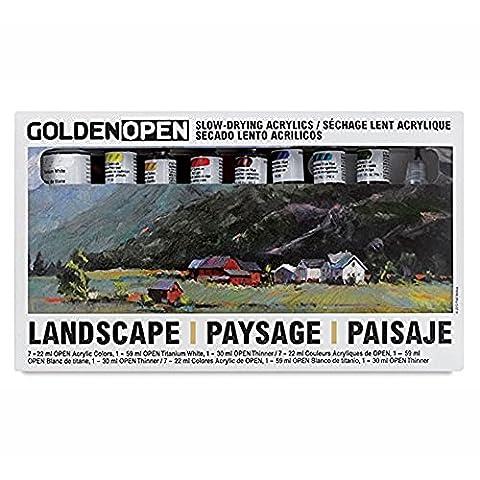 Golden Open Acrylic Landscape, Set Of 8 (Acrylic Golden Paint)