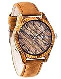 SUNMAX Wooden Wrist Watches for Men's Or Women's Zebra Series/Calendar Watch/Dial 42mm/Leather Strap/Wood Bezel/Analog Quartz Movement-Bamboo Watch Box