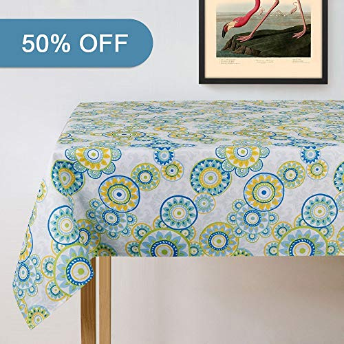 FLOBELI Lamberia Tablecloth Waterproof Spillproof Polyester Fabric Table Cover for Kitchen Dinning Tabletop Decoration, 60x120 Oblong, Seats 12-14 People, Light Green