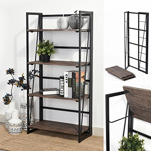 wood and metal bookcase - 4