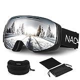 Ski Goggles with Storage Box, NACATIN Detachable OTG Snowboard Googles for Women and Men, Anti-Fog,Windproof,Anti-Glare Snow Goggles 100% UV400 Protection