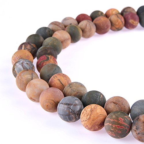 Jasper 6 Mm Gemstone - PLTbeads Gorgeous Picasso Jasper Natural Gemstone Loose Beads 6mm Matte Round Approxi 15.5 inch DIY Bracelet Necklace For Jewelry Making
