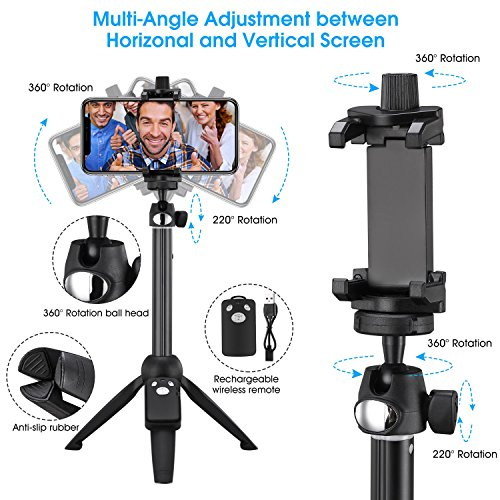 Apsung Selfie Stick Tripod, 40-Inch Extendable iPhone Tripod with Wireless Remote, Portable Selfie Stick for iPhone X/iPhone 8/8 Plus/iPhone 7/7 Plus/Android/Gopro/Digital camera,Gopro Adapter Include by Apsung (Image #3)