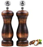Salt and Pepper Grinder Set, Manual Pepper Mill Wood with Ceramic Grinding Core, Adjustable Coarse and Fine Suitable for Picnic, Dinner, Parties, Restaurant, BBQ and Hotel-(Pack of 2)