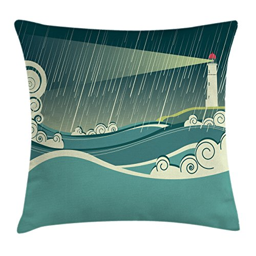 Nautical Throw Pillow Cushion Cover by Lunarable, Lighthouse Seascape in Rainy Night Tower Stormy Weather Waves Navigation Theme, Decorative Square Accent Pillow Case, 26 X 26 Inches, Teal Cream (Seascape Lighthouse)