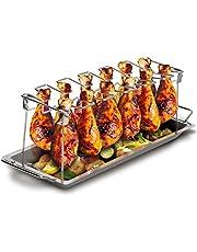 Grill Republic Uchwyt na udka z kurczaka, wykonany ze stali nierdzewnej, do maks. 12 udek l, oszczędzający miejsce akcesoria do grilla, idealny prezent dla fanów grillowania