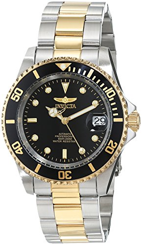 Tone Solid Watch Two Wrist (Invicta Men's 8927OB Pro Diver 18k Gold Ion-Plated and Stainless Steel Watch, Two Tone/Black)