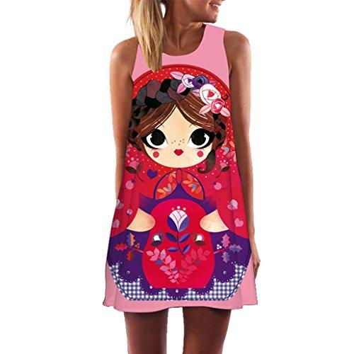 Mini Verano Boho sin Rosa Vintage de Vestido Mujer Caliente Absolute Mangas Playa ❤️ Mujeres Impreso Corto Vestido BRPfHgq