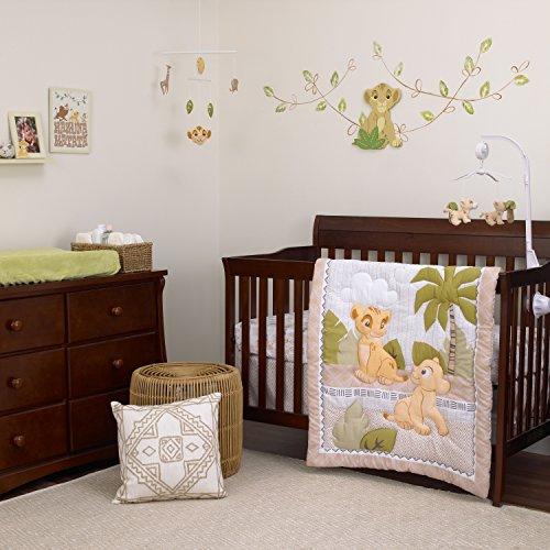 Disney Lion King Simba and Nala 3-Piece Nursery Crib Bedding Set, (Savannah King)