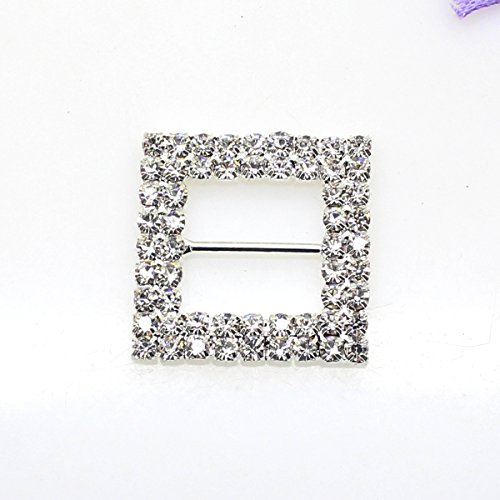 (12pcs 27mm x 27mm Square Shaped Rhinestone Buckle Slider for Wedding Invitation Letter)