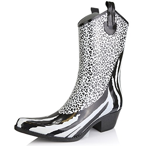 Women's Nature Breeze Cb-01 Animal Blk/Wht Zebra Leopard Print Rain Boot Shoes, Leopard, 9,9 B(M) US