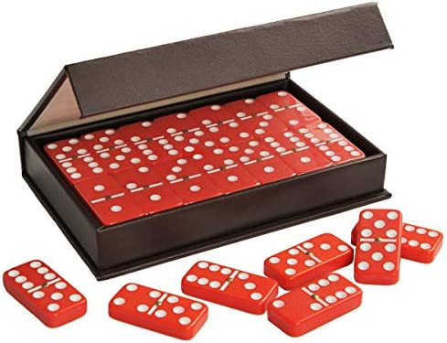 ZOOCEN Dominoes Double 6 Red TilesSpinner Pack in Leatherette Case