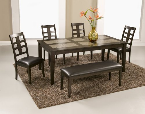Alpine Furniture 566-01-02-02 5 Piece Piedmont Tile Top Dining Set, Dark Walnut