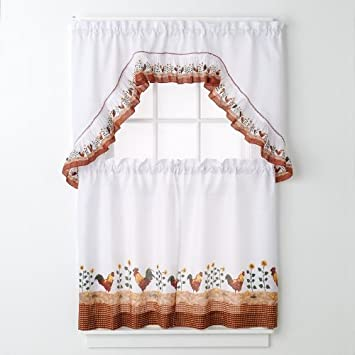 Super Amazon.com: Rooster Complete 36 Inch Kitchen Curtain Set By United  JK52