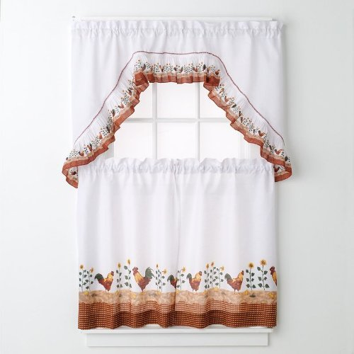 Amazon.com: Rooster Complete 36 Inch Kitchen Curtain Set By United: Home U0026  Kitchen