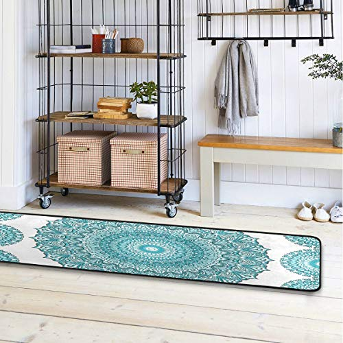 Boho Ethnic Turquoise Mandala Runner Rug Bath Rug Kitchen Mat Doormat Large Runner Carpet 72″ X 24″