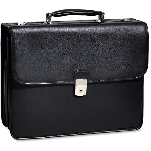 Double Compartment Laptop Briefcase, Leather, 15.4''in, Black - ASHBURN | Mcklein by McKleinUSA
